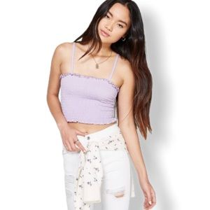 Wild Fable Lilac Smocked Crop Tank Top Size Large